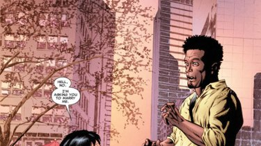"""Artwork from Marvel Comics """"Astonishing X-Men #50."""" Jean-Paul Beaubier, aka Northstar, proposes to his longtime boyfriend Kyle Jinadu in the issue."""