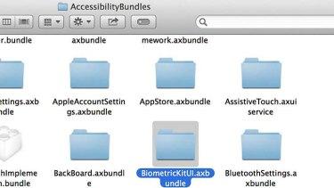 The BiometricKitUI folder in iOS7 beta 4.