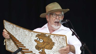 Rolf Harris performs with his wobbleboard at the Glastonbury Festival in England last year.