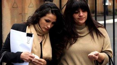 Simon Gittany's girlfriend Rachelle Louise, left, leaving court with his family.