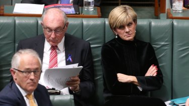 Prime Minister Malcolm Turnbull and Foreign Affairs minister Julie Bishop during question time  on Thursday.