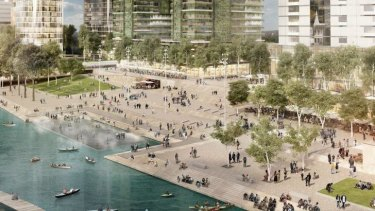 An artist's impression of the Parramatta foreshore project by McGregor Coxall.