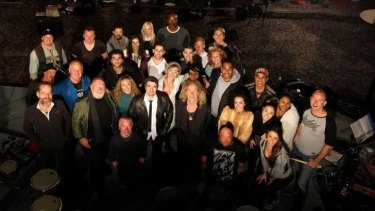 The cast and crew of <em>Dr Moron</em>, with Jack Thompson.