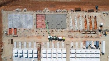 The world's biggest lithium iron battery farm takes shape near Jamestown, 200 kilometres north of Adelaide.