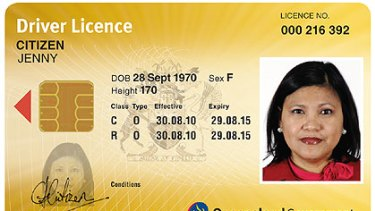 An example of the new Queensland driver's licence - front and back view - which will feature chip technology.