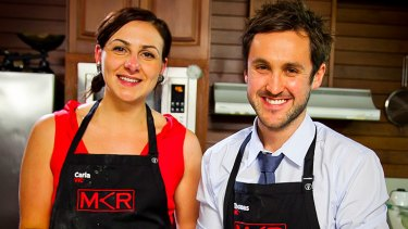 Thomas (right) with his <i>My Kitchen Rules</i> teammate Carla.