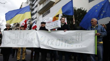 Protests in support of the Ukraine, outside the Russian embassy in Paris.