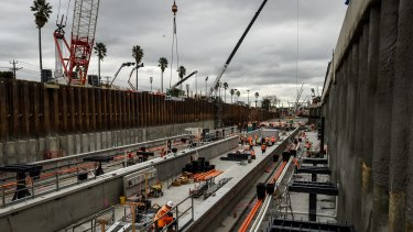 The work at Bentleigh station on the Frankston line as part of the level crossing-removal project.