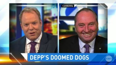 Peter Hellier quizzed Barnaby Joyce over his dog death threat to Johnny Depp.