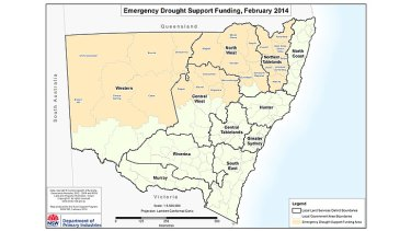 Areas to receive NSW government drought help.