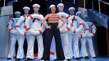 Caroline O'Connor (centre) won best actress in a musical for the Opera Australia/John Frost production of the musical Anything Goes, which also won best musical.