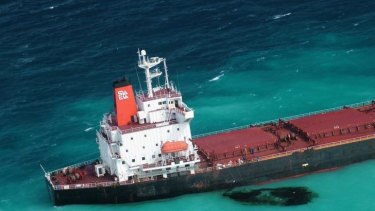 Shen Neng 1, a Chinese-registered bulk coal carrier grounded in the Great Barrier Reef Marine Park. It veered off course into the retricted area.