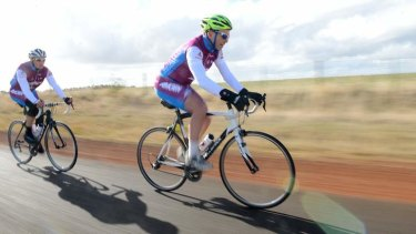 On his bike: Tony Abbott at the Pollie Peddle ride.