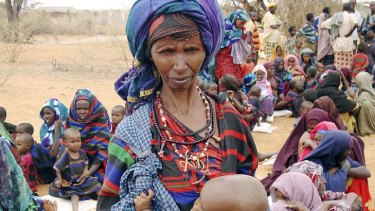 Refugees wait to go to a camp in the Ethiopia as drought strengthens its grip on countries in the Horn of Africa
