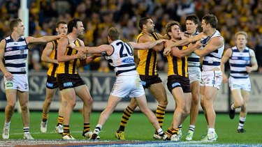 Hawthorn and Geelong don't hold back in the 2013 preliminary final.
