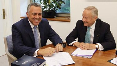 Treasurer Joe Hockey with the chairman of the Commission of Audit Tony Shepherd, who will be paid $1500 a day by the government.
