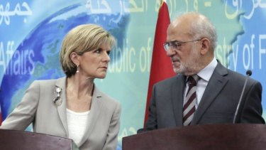 Foreign Minister Julie Bishop after a meeting with her Iraqi counterpart Ibrahim al-Jaafari in Baghdad.
