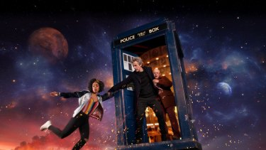 Bill (Pearl Mackie), The Doctor (Peter Capaldi), and Nardole (Matt Lucas) in Doctor Who.