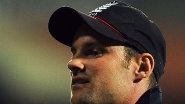 Humiliated .. England captain Andrew Strauss trudges off the pitch.