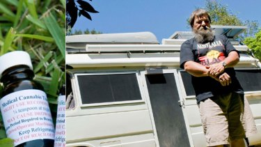 Crusade ... Tony Bower supplies his medical cannabis tincture (left) from the back of his van to chronically sick customers seeking relief from their pain.