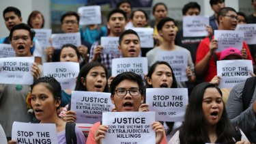 Filipino student activists call for justice for victims of extrajudicial killings during a rally at the University of the Philippines in suburban Quezon last year,