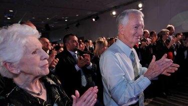 Julia Gillard's late father John and mum Moria applaud their daughter.
