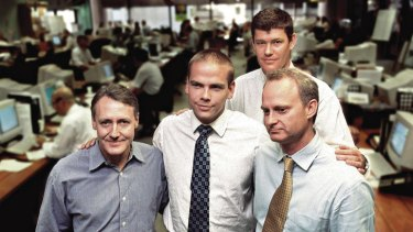 The One.Tel team Brad Keeling, Lachlan Murdoch, James Packer and Jodee Rich.