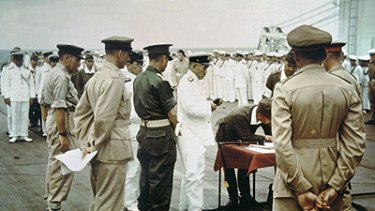 Historic ... signing the ''Instrument of Surrender'' in 1945.