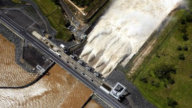 Water being released from Wivenhoe Dam last summer.