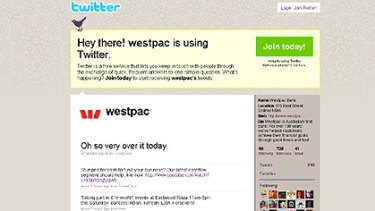 A screen shot of Westpac's Twitter account this afternoon.