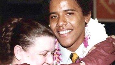 Barack Obama's grandmother hugs him at his high school graduation in 1979.