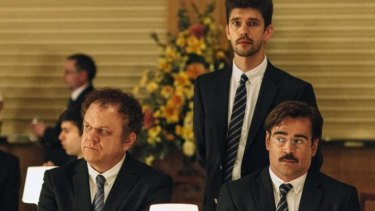 A rather less svelte Colin Farrell, right, with John C. Reilly and Ben Whishaw, in <i>The Lobster</i>.