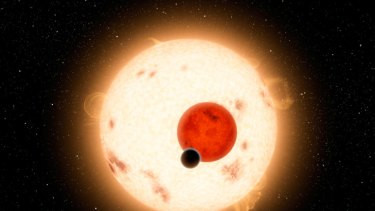 Double sunset ... an artist's impression of Kepler 16b.