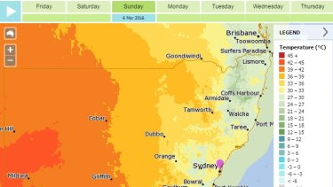 The daily maximum temperature forecast for Sunday across NSW.