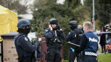 Police outside a house on in Braybrook.