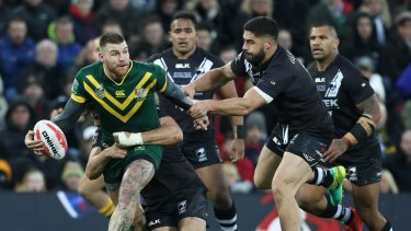Two for the good: Josh Dugan scored a double in the Four Nations final against New Zealand.