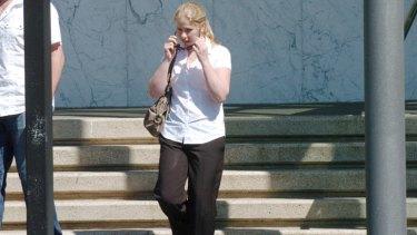 Bikie romance.... Lauren Conte leaves court in 2010.