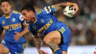 Stumbling: co-captain Reni Maitua in action for Parramatta this year.