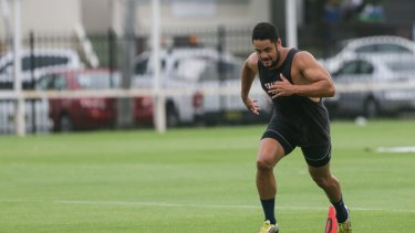 In full flow: Jarryd Hayne trains at Coogee Oval on Friday.