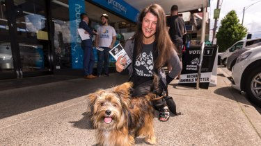 Nina Lenk, Animal Justice Party candidate in the Northcote byelection.