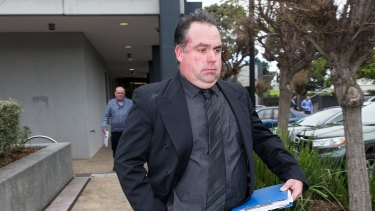 Greyhound trainer Stuart Mills outside Frankston Magistrates Court on Monday.
