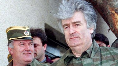 Captured ... Ratko Mladic (left) with Radovan Karadzic in 1995.