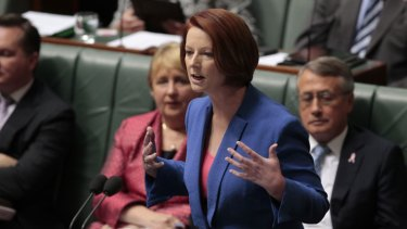 Prime Minister Julia Gillard replies to Opposition Leader Tony Abbott's motion to dismiss the Speaker Peter Slipper at Parliament House in Canberra on Tuesday. Photo: Andrew Meares