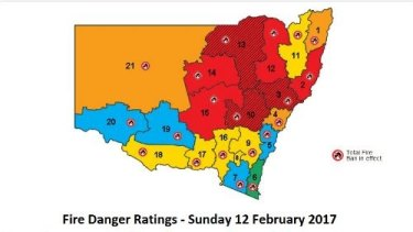 Red alert: An upgraded fire warning for NSW released by the Rural Fire Service on Sunday.