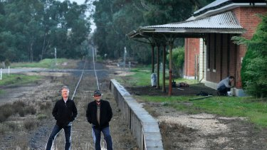 Rail  campaigners Noel Laidlaw and Scott Ramsay at the Carisbrook train station.