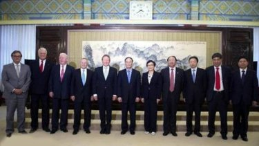 The Australian delegation to the Bo'ao Forum 2012 meets their People Liberation Army hosts.
