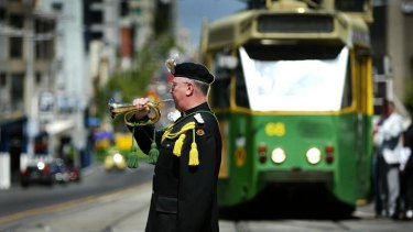 John Mansfield from 4/19 Prince of Wales Light Horse Regimental Band plays The Last Post.