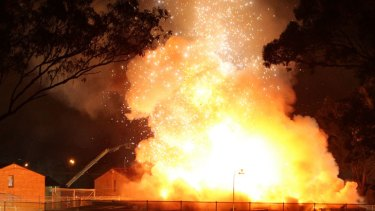 A gas cylinder explodes in a building thought to be a medical store room.