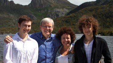 Nick Rudd, Kevin Rudd, Therese Rein and Marcus Rudd visit Tasmania's Cradle Mountain in January.