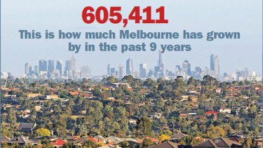 Melbourne's growth in the past 9 years equals roughly six Ballarats, three Hobarts and one Gold Coast.